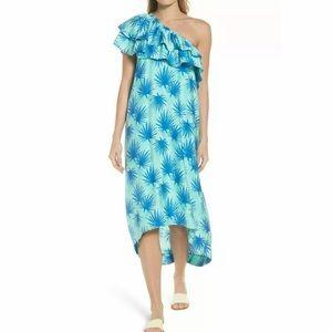 Vineyard Vines Palm One Shoulder Dress Blue Maxi